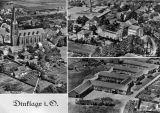 Postkarte Luftbild Kirche, Schule