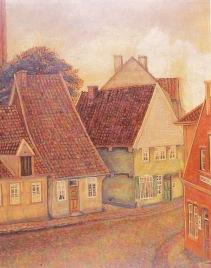 """-96- Noch einmal """"Schemden Gang"""" von der anderen Seite mit den Häusern Wittrock, Burhorst, von Schemde und Weiß. Öl auf Sperrholz, ca. 53x68cm, Carl Bellersen, im Besitz der Familie Weiß"""