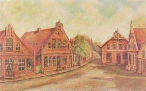 -102- Häusergruppe am Alten Markt. Öl auf Hartfaser, ca. 71x44cm, Emil Schulte, im Besitz der Familie Weiß.