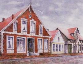 -52- Alter Markt um 1940. Gouache, ca. 63x50, Monika Wormsbach 1996, Im Besitz von Karl Tepe.
