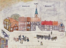 """-4- Die """"Doenporten"""" um 1890. Die Häuserreihe vor der Kirche ist bei einem Brand vollständig vernichtet worden. Zeichnung von Johann Niemann (""""Tempel Jan"""") im Besitz von Clara Niemann."""