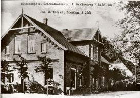 """-41- """"Stüven Karl"""", Wirtschaft und Kolonialwaren von J. Willenborg """"seit 1902"""", später Gasthaus Kaiser an der Einmündung der Straße """"Alte Hörst"""""""