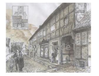 """-3- die 1909 abgebrannte """"Doenporten"""" vor der Kirche. Durch diese """"Totenpforte"""" wurden die Toten zum Begräbnis getragen. Zeichnung mit Kaffee und Bleistift von Diedel Heidemann (www.icksite.de) 2009"""