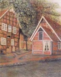 """-6- Eckhäuser Kirchplatz / Am Pfarrhof; links der ehemalige """"Tempel"""" rechts ehemalige Gastwirtschaft Bahlmann, später Eisdiele, heute Pizzeria. Öl auf Sperrholz, ca. 41x53cm, Carl Bellersen, im Besitz der Familie Weiß"""