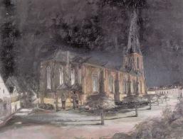 -1- Abendstimmung, Kirche mit Kirchplatz, Öl auf Holz, ca. 70x57cm, Franz Ruckes 1957, im Besitz von Peter Bahlmann.