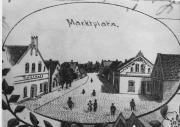 -98- Blick auf den Marktplatz und die ehemalige Königsstraße in Richtung Norden. Auf der linken Seite der ehemalige Gasthof Fangmann, später Brebeck und dann Hölzen. Die Postkarte wurde 1894 abgestempelt.