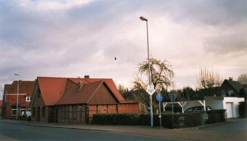 """-133- Haus Scheper, links Schlaphorst, rechts die Einmündung von """"Schlaops Pad"""" 2002"""