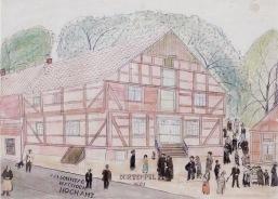 """-2- Der """"Tempel"""" von 1885 am Sonntag nach dem Hochamt, Zeichnung ca. 60x43cm Johann Niemann, Im Besitz von Clara Niemann."""
