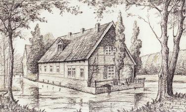 -46- Die Rentei der Burg Dinklage, 1919, Bleistiftzeichnung, ca. 15x10cm Maler unbekannt, Im Besitz von Lucia Frerker