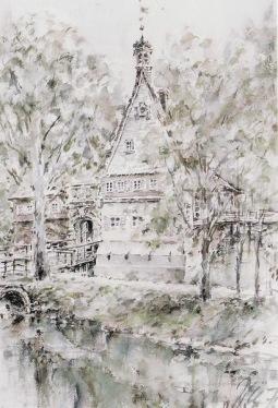 -8- Burg Dinklage, Aquarell, ca. 37x55cm, Wieslaw Sniadecki, Im Besitz von Josef Borgerding