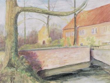 -10- Burg Dinklage mit Blick auf die Burgkapelle, 1983, Öl auf Leinenkarton, ca. 40x30cm, Engelbet Behrens, Im Besitz von Günther Timme