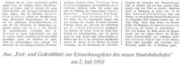 aus der Festschrift zur Einweihung des Quakenbrücker Bahhhofs ( in. heiko Bockstiegel,, Hauptbahnhof Quakenbrück